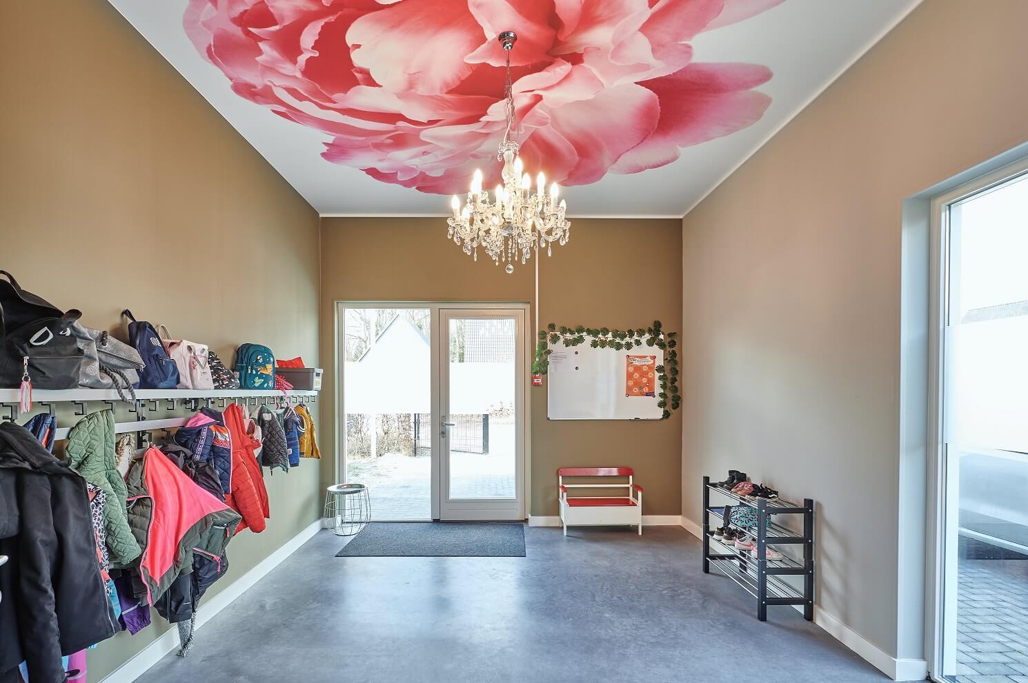 Fotoplafond met roze bloem